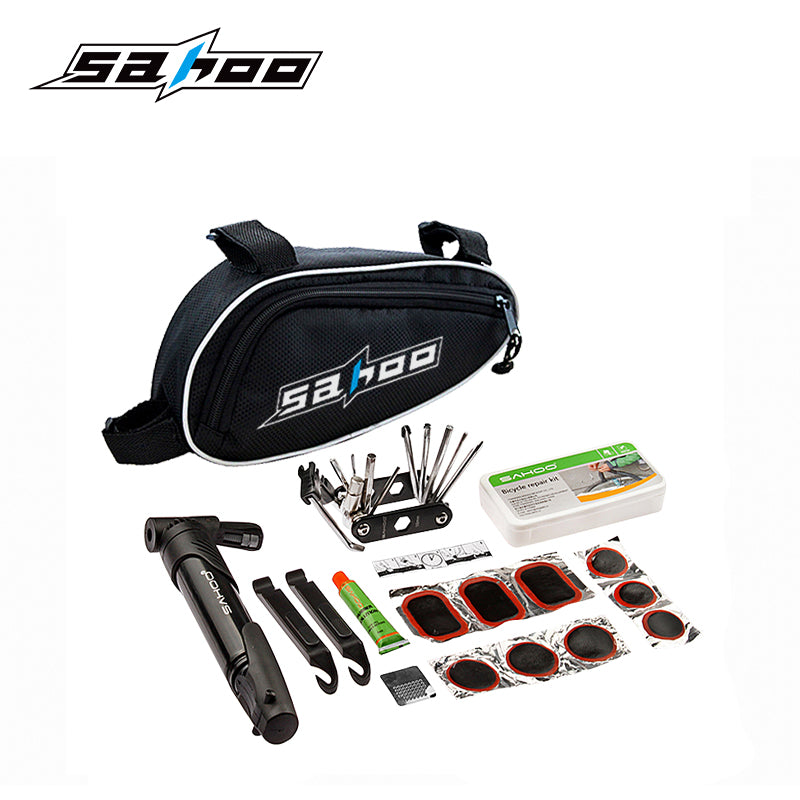 SAHOO Bicycle Tools and Repair Kit Set with Pouch Pump