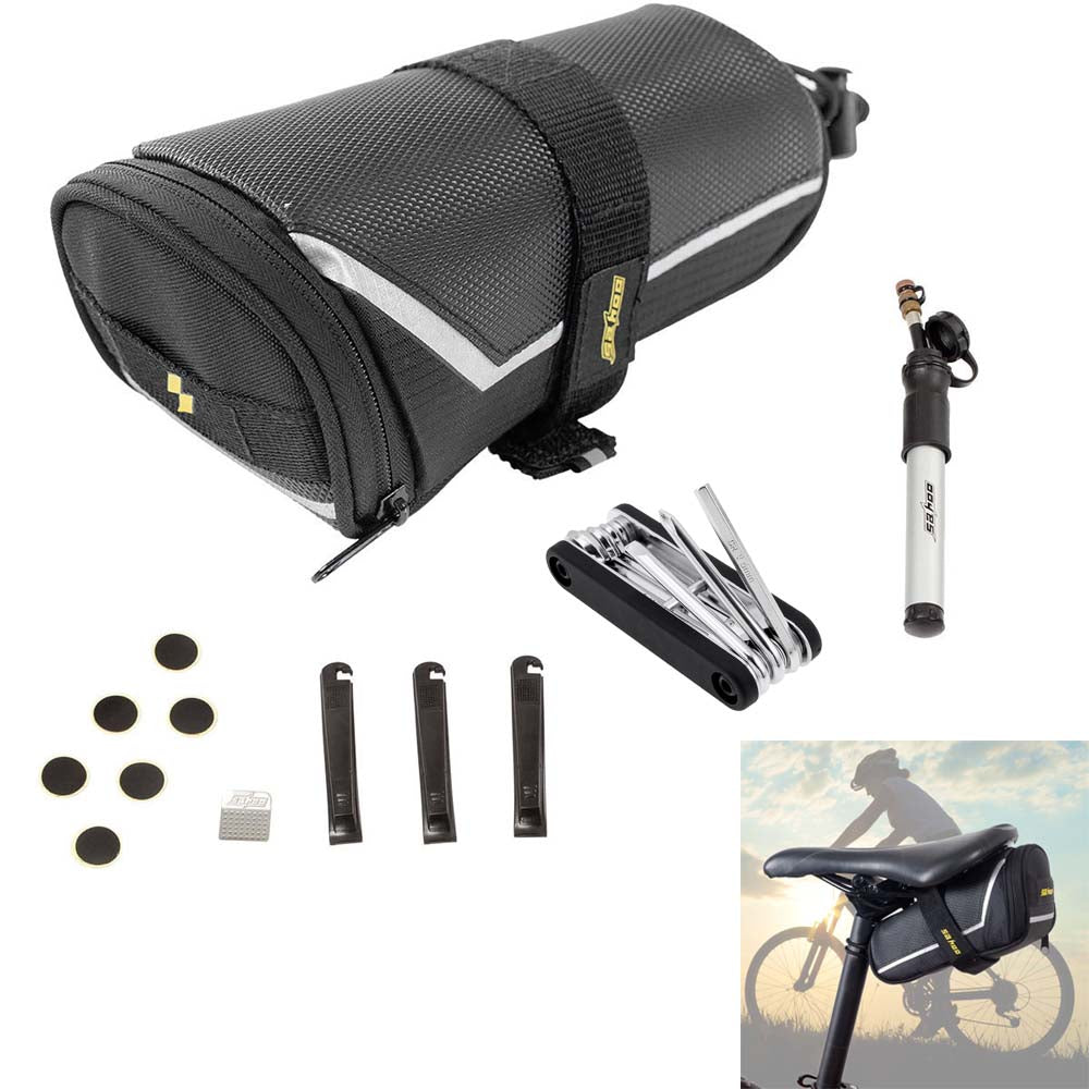 Bicycle Flat Tyre Repair Kit- 7 in 1 Multi-tool Saddle Bag