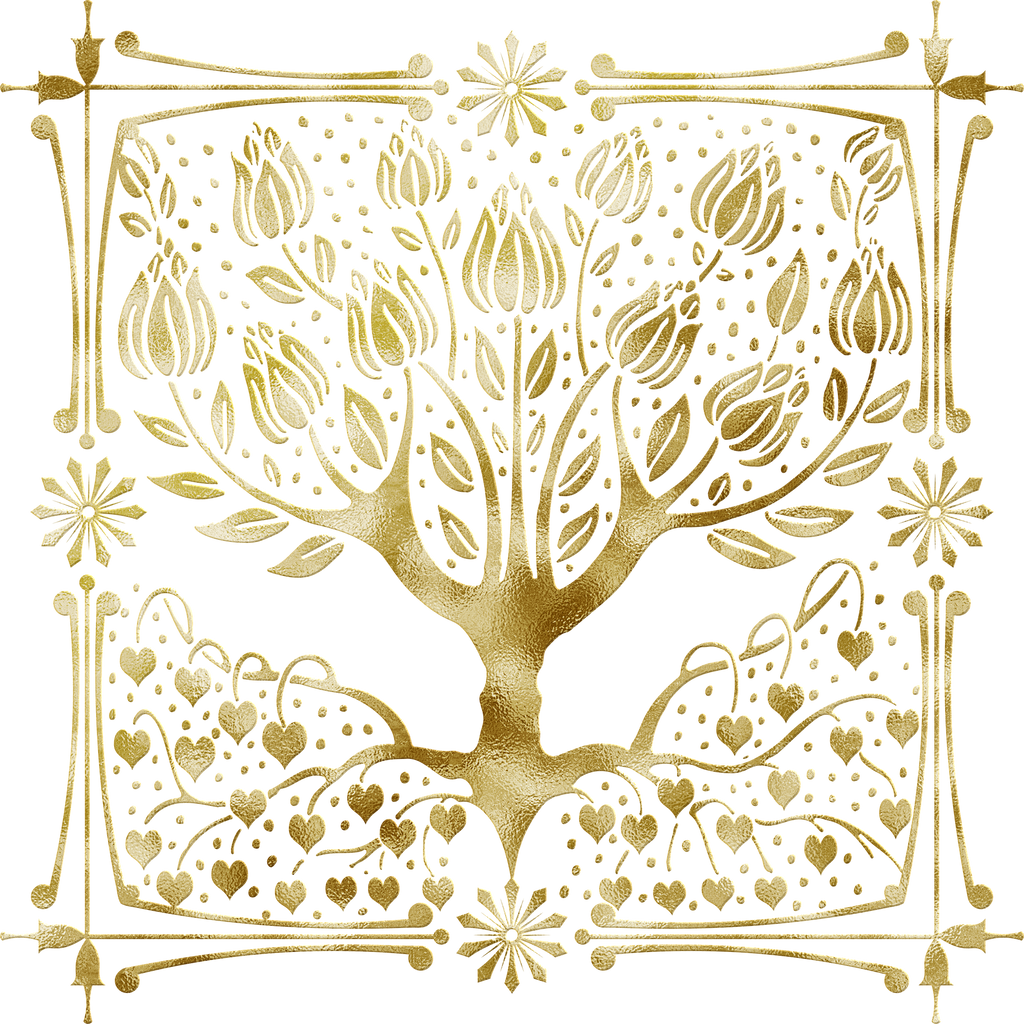 Gold foil tree with heart roots