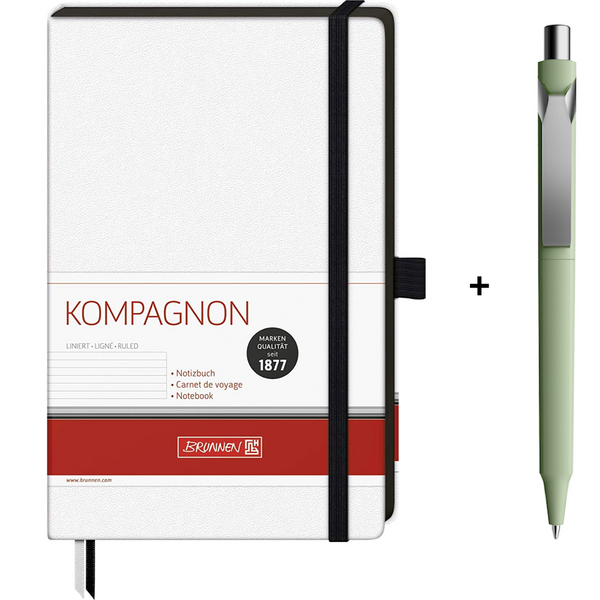 Brunnen White Notebook + Prodir DS10 Pen Gift Set - The European Boulevard