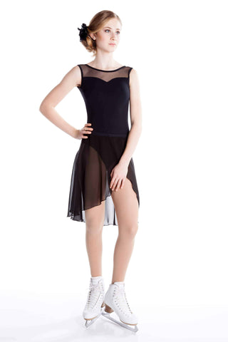 One Piece in Supplex with Sweetheart Neckline and Short Sleeves - Black