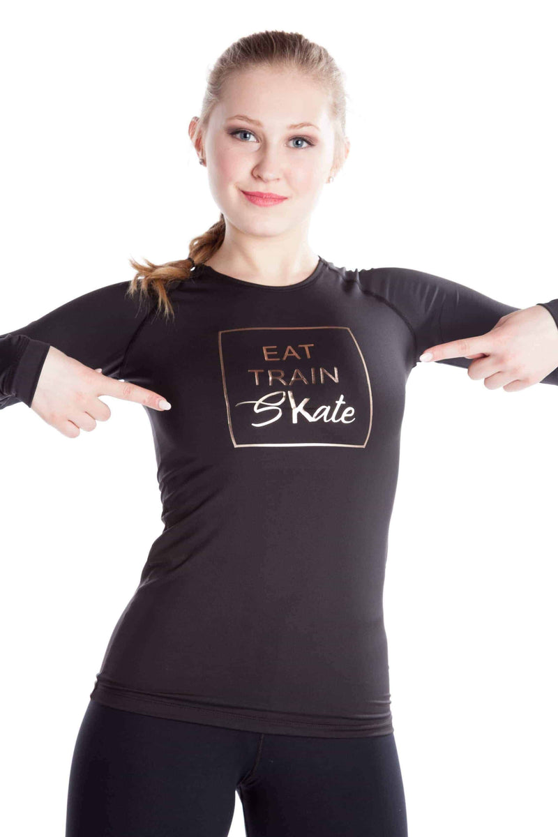 Black shirt EAT TRAIN SKATE - Rose gold - Elite Xpression