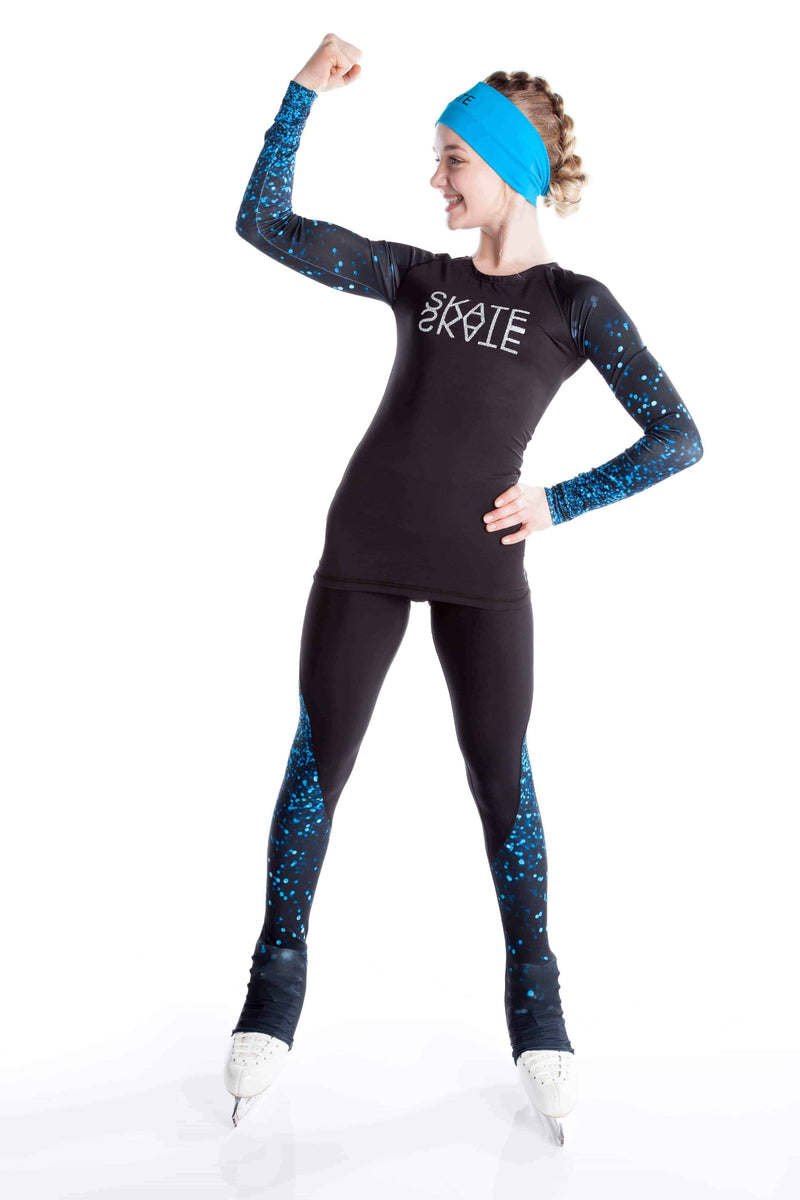 Black shirt with sublimated sleeves - Blue sparkle - Elite Xpression