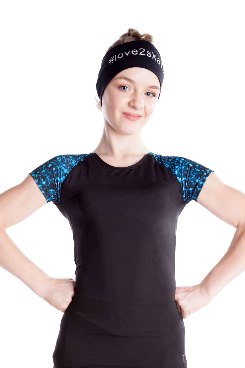 Black t-shirt with sublimated sleeves - Blue sparkle - Elite Xpression