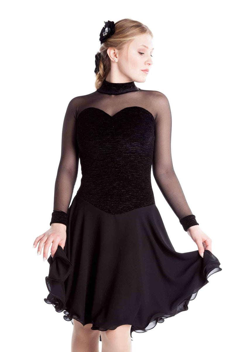 Black Crinkle Dance Dress - Elite Xpression