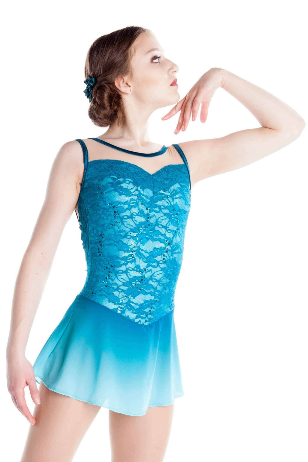 Turquoise Faded Lace Dress - Elite Xpression