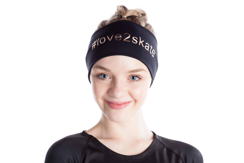 Black headband #love2skate rose gold - Elite Xpression