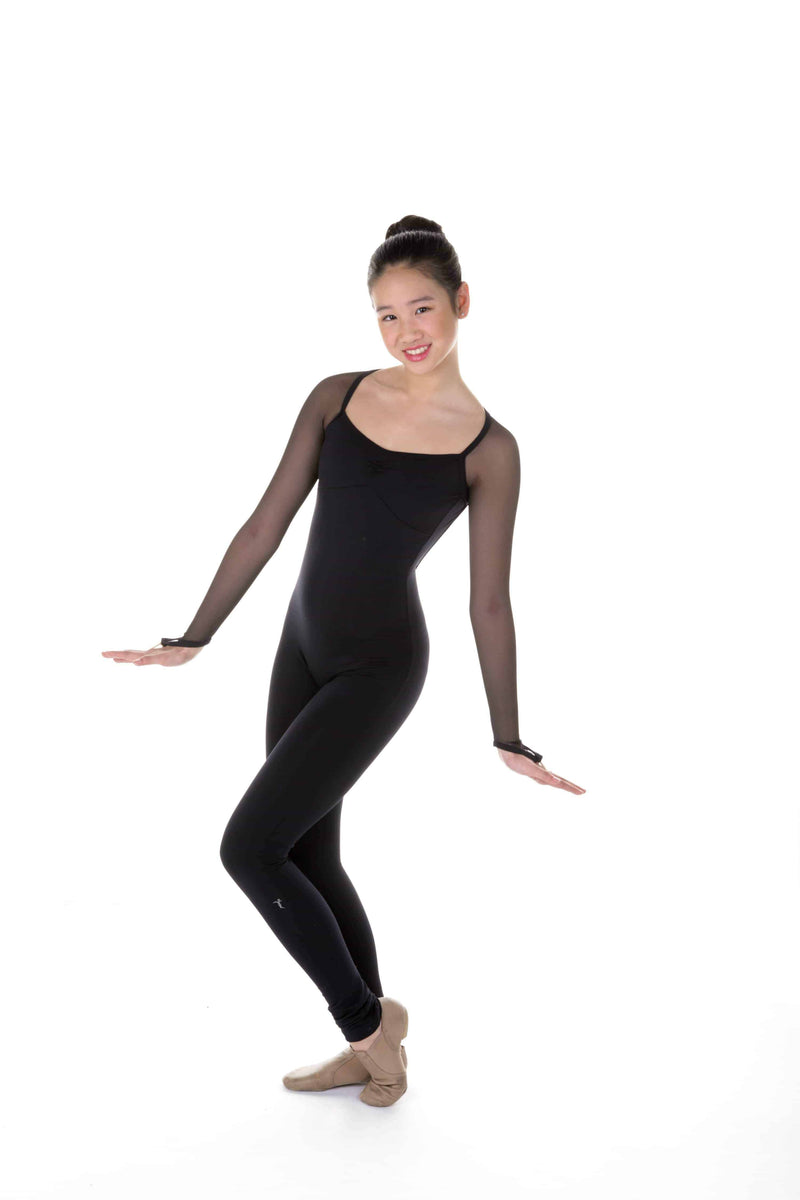 One Piece in Supplex with Mesh Long Sleeves - Black - Elite Xpression