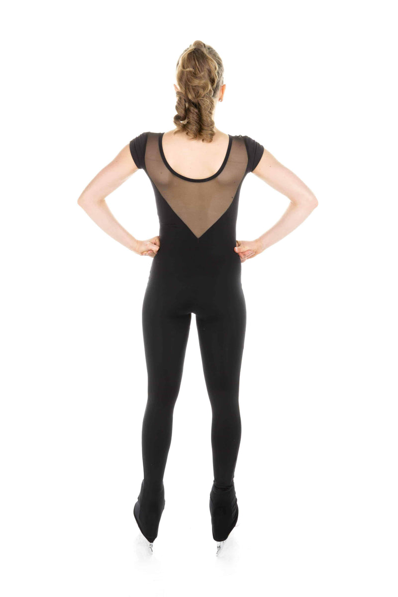 One Piece in Supplex with Sweetheart Neckline and Short Sleeves - Black - Elite Xpression