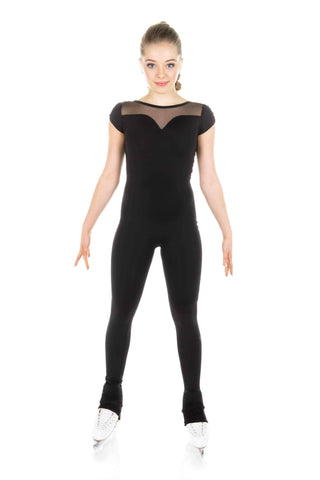One Piece in Supplex with Mesh Long Sleeves - Black