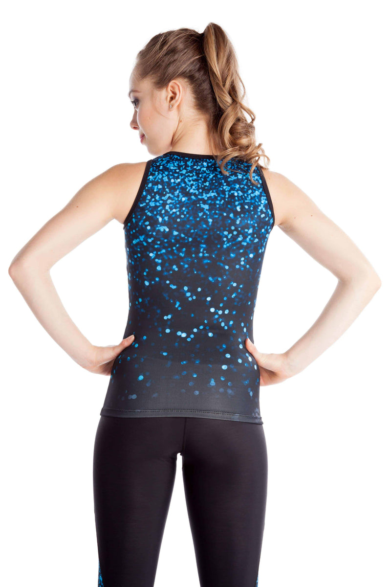 Training Tank Top Wide Backing - Blue Sparkle - Elite Xpression