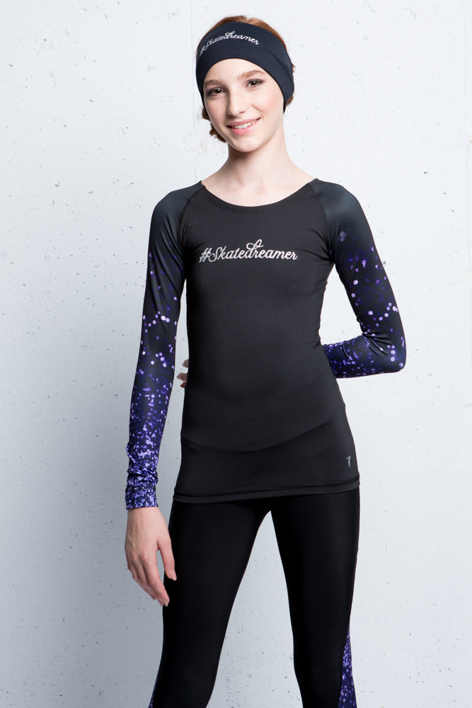 Black shirt with sublimated sleeves - Purple sparkle - Elite Xpression