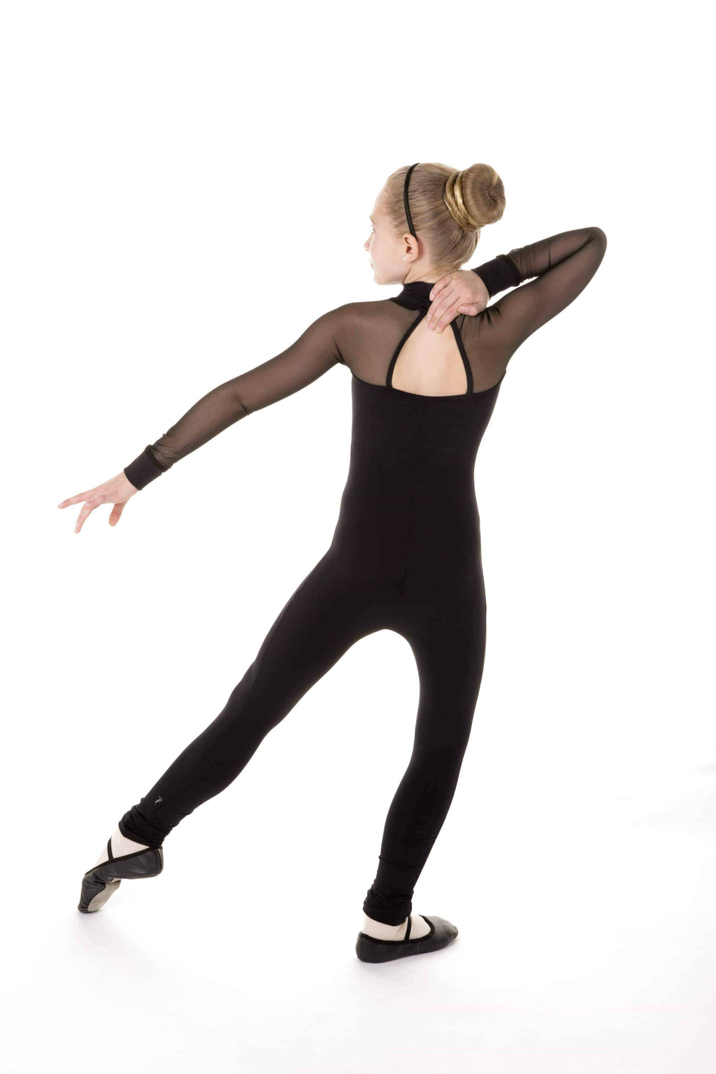 Black One piece with mesh sleeves - Elite Xpression