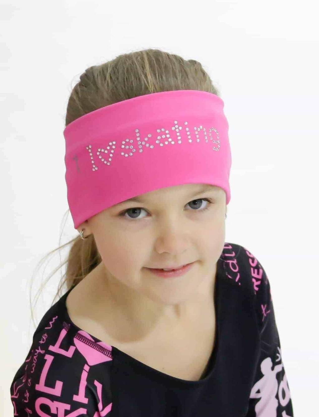 I LOVE SKATING Headband - Pink - Elite Xpression