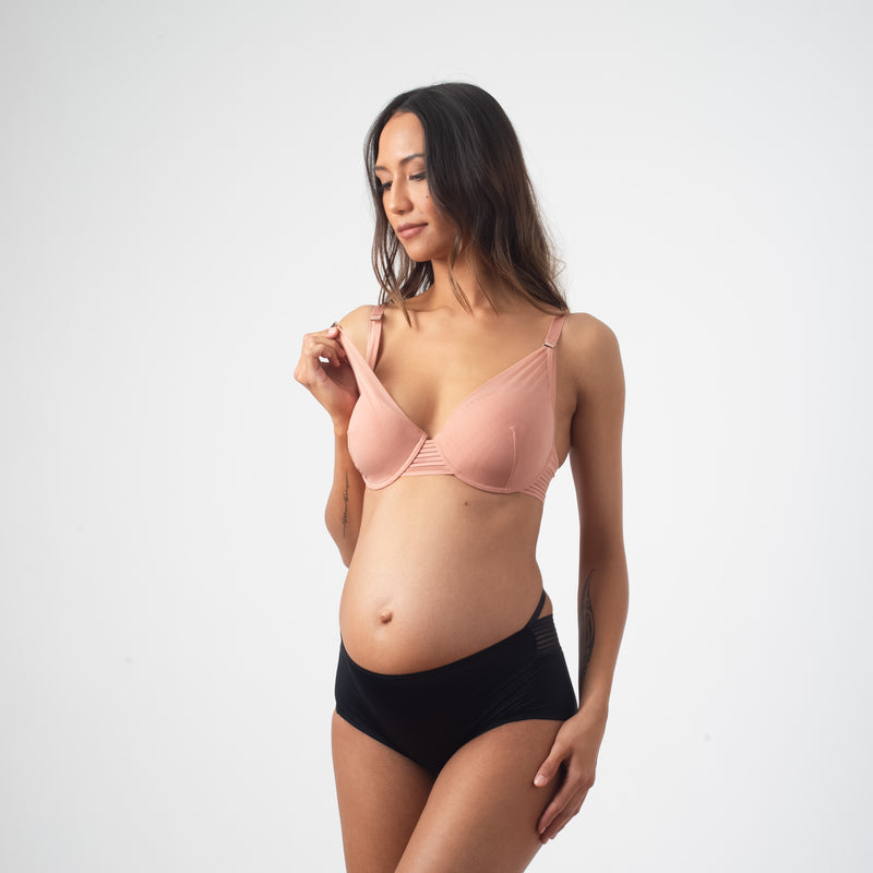 PROJECTME AMBITION PLUNGE ROSE FLEXI WIRE CONTOUR NURSING AND PREGNANCY BRA AND AMBITION HIGH WAISTED BRIEF BLACK