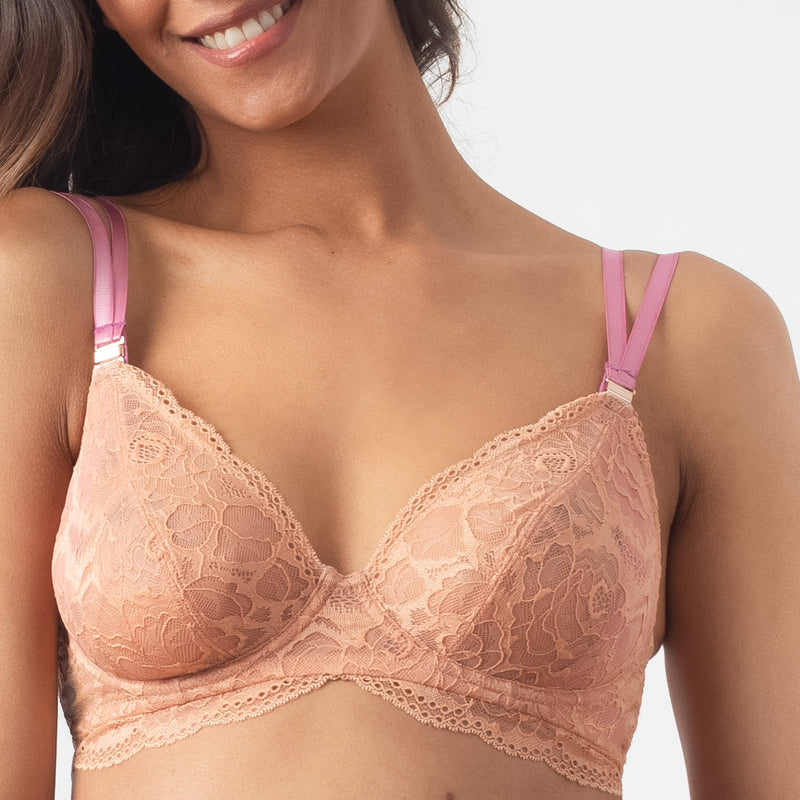 heroine plunge rose nursing bra magnetic nursing clips