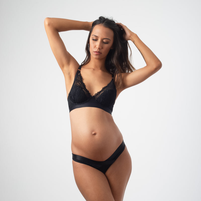 PROJECTME WARRIOR PLUNGE BLACK CONTOUR NURSING BREASTFEEDING PREGNANCY BRA - FLEXI UNDERWIRE WITH WARRIOR BIKINI IN BLACK