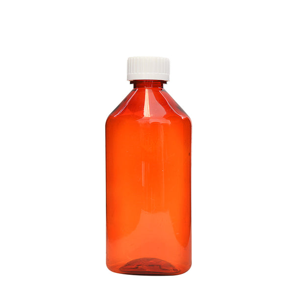 Amber Oval Bottles w/Oral Adapters 8 oz.