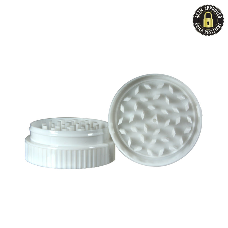 Plastic Weed Grinder CAP -  Fits onto 40/60 Dram Vials  - White - 50 Count