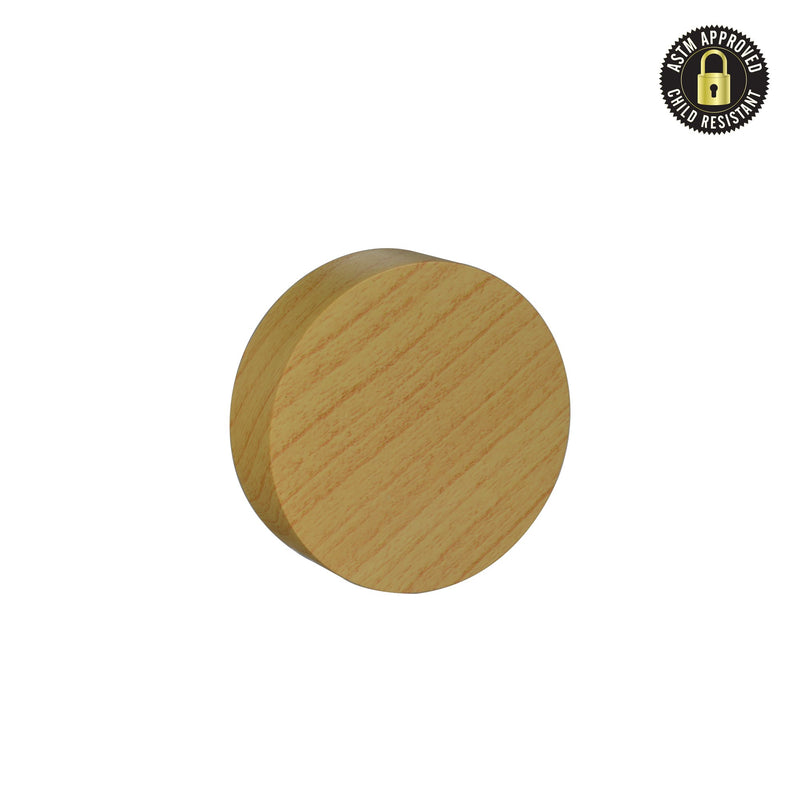 Flat Bamboo Wood Print Child Resistant Cap 53 MM - 120 Count