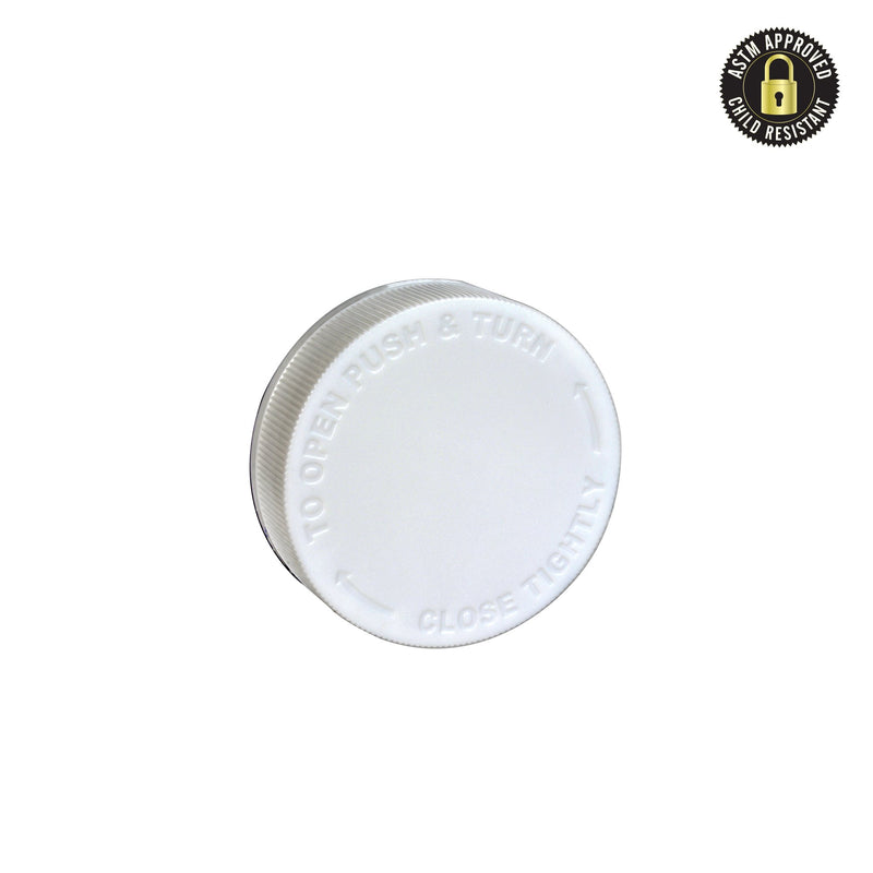 Flat Engraved White Child Resistant Cap 53 MM - 120 Count