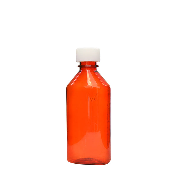 Amber Oval Bottles w/Oral Adapters 6 oz.
