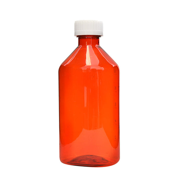 Amber Oval Bottles w/Oral Adapters 12 oz.