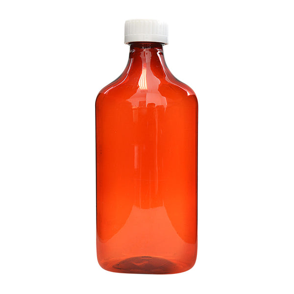 Amber Oval Bottles w/Oral Adapters 16 oz.