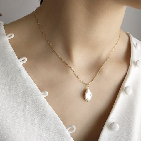 Simple Pearl 925 sterling silver Necklace - Thallo Shop