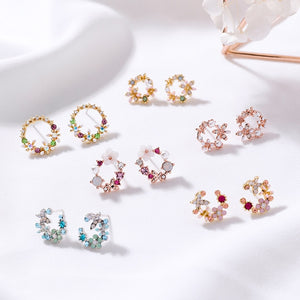 Colourful Rhinestone Wreath Flower Stud Earrings - Thallo Shop