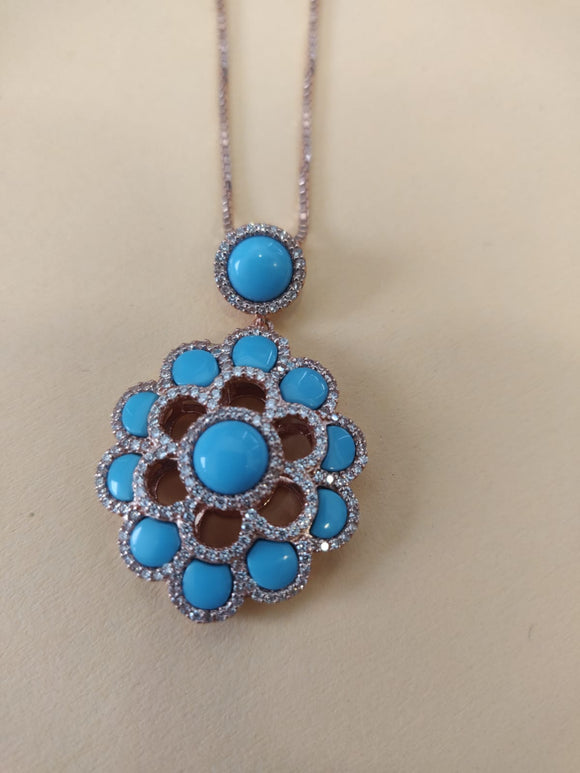 Turquoise Flower Silver 925  - APS26706