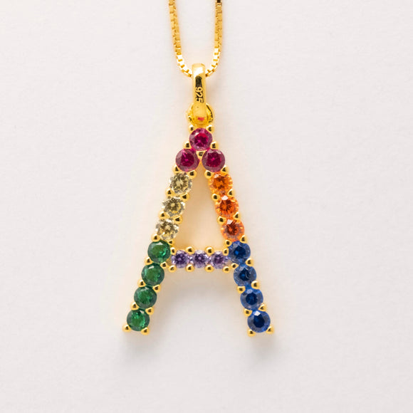 Silver 925 Rainbow Initial Necklace - A