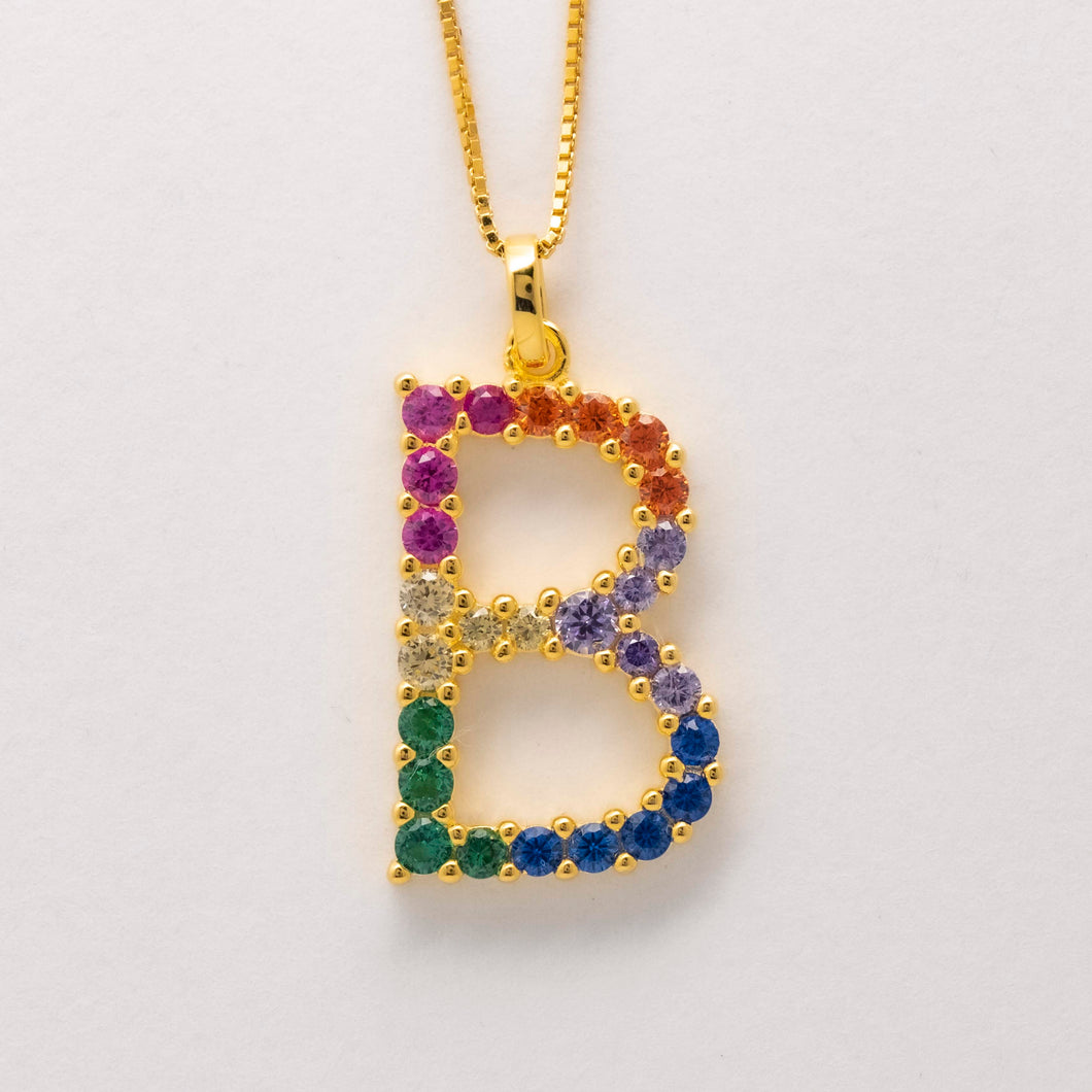 Silver 925 Rainbow Initial Necklace - B