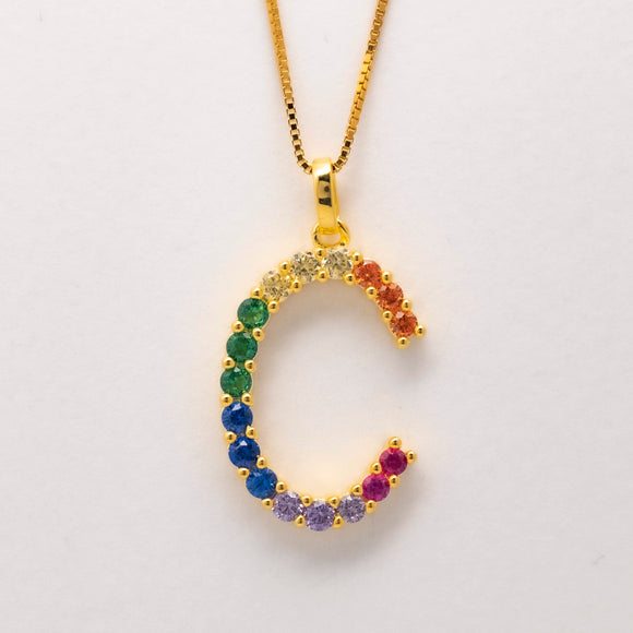 Silver 925 Rainbow Initial Necklace - C