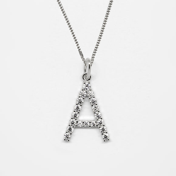 Silver 925 Initial Necklace - A
