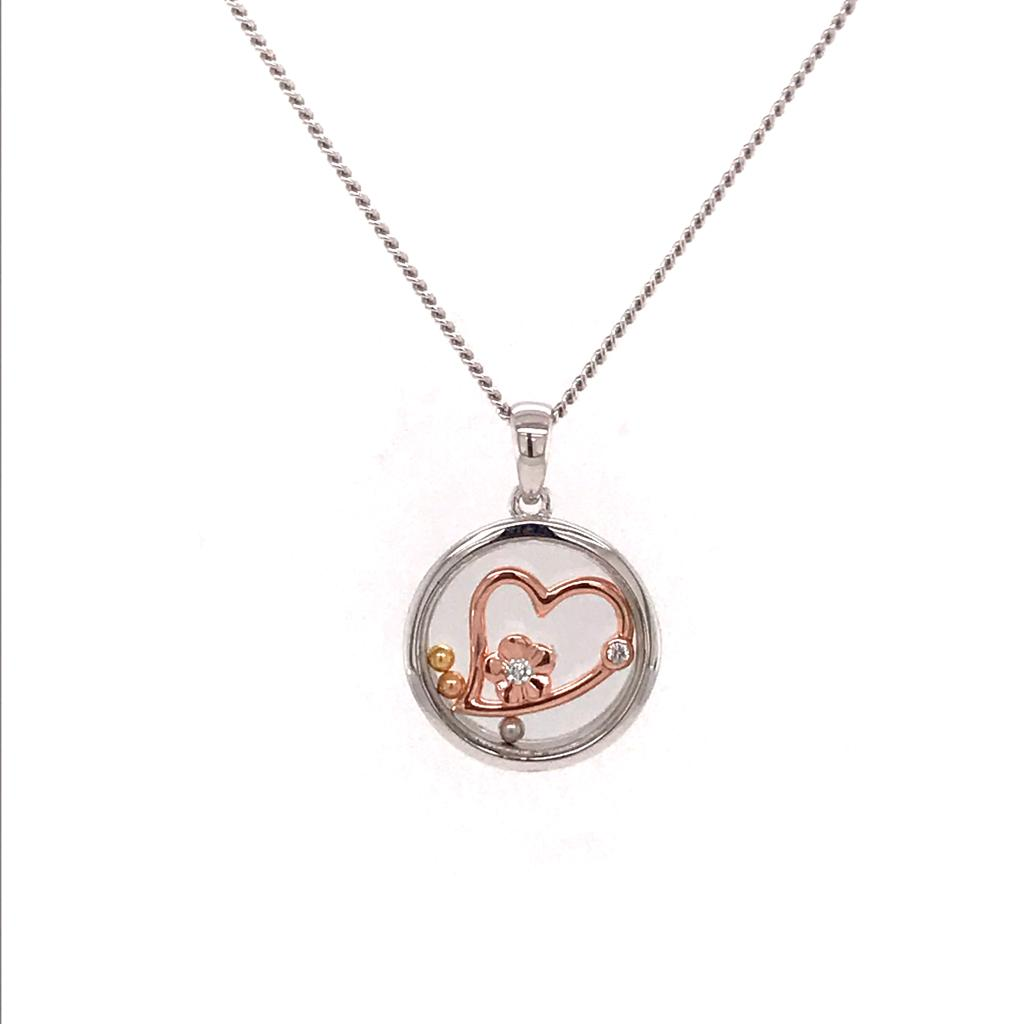 Silver 925 Necklace Heart With Flower (CHP-044P)