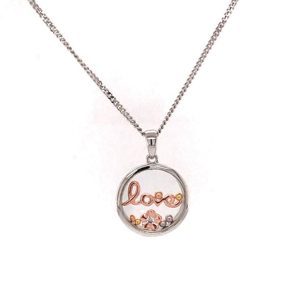 925 Silver Necklace Love and Flower (CHP-0848P)