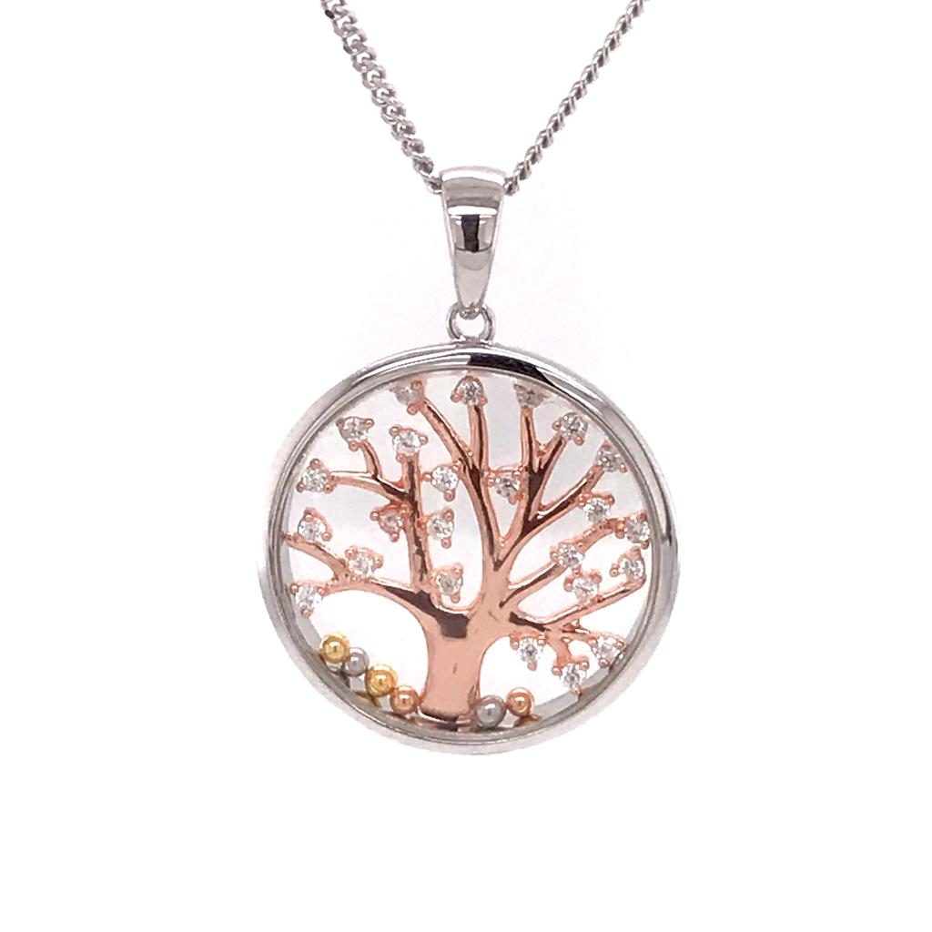 925 Silver Necklace Family Tree (CHP-0862P)