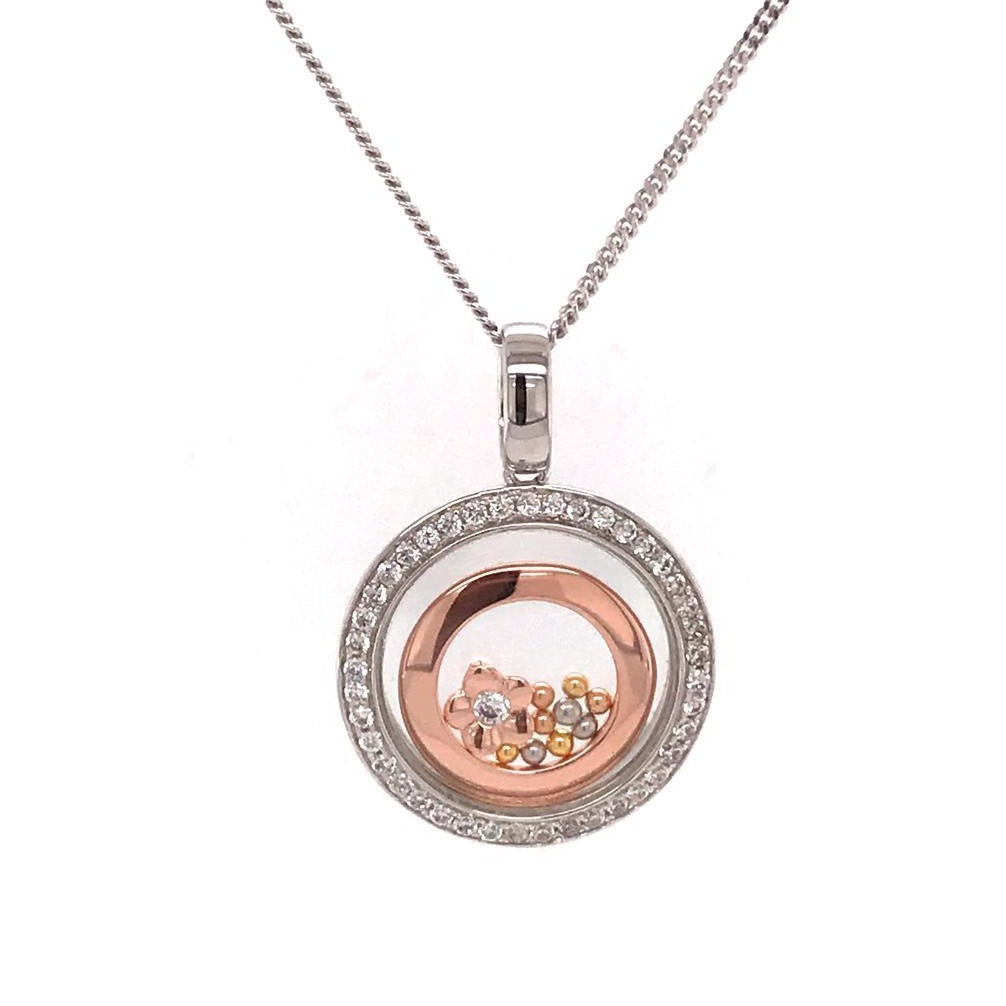 925 Silver Necklace Circle with Flower (CHP-0885P)