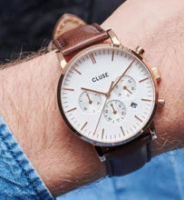 Load image into Gallery viewer, Aravis Chrono Leather Brown, Rose Gold Colour CW0101502002