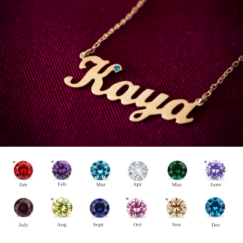 Personalised Necklace with Birth Stone - Rose Gold Plated