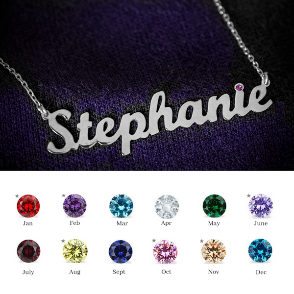 Personalised Necklace with Birth Stone - Silver 925