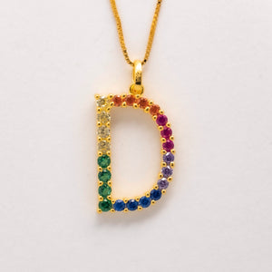 Silver 925 Rainbow Initial Necklace - D