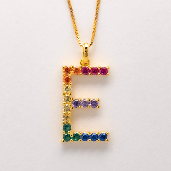 Silver 925 Rainbow Initial Necklace - E