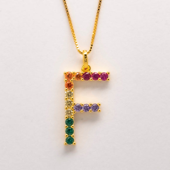 Silver 925 Rainbow Initial Necklace - F