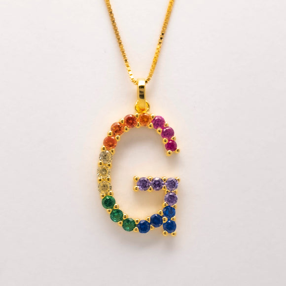 Silver 925 Rainbow Initial Necklace - G