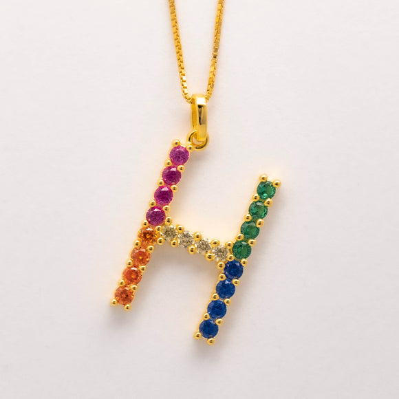 Silver 925 Rainbow Initial Necklace - H