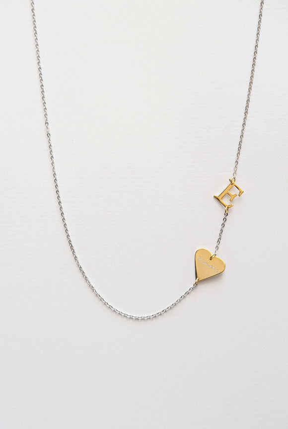 Silver 925 Initial Necklace + Heart