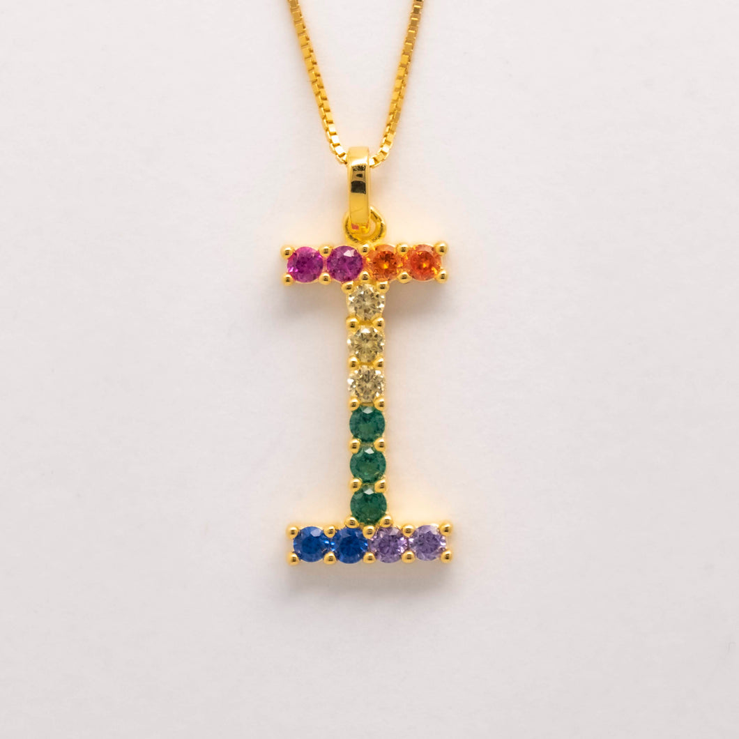 Silver 925 Rainbow Initial Necklace - I