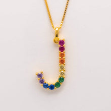 Load image into Gallery viewer, Silver 925 Rainbow Initial Necklace - J